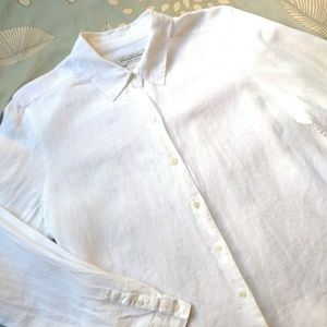 Brooks Brothers Classic White Linen Shirt Large